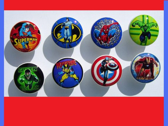 8 Superhero  super hero  boys girls on white knob    Dresser Drawer Knob. Just ordered these!