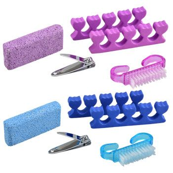 These pedicure sets offers a professional salon look without the high price. 5-piece sets includes a pumice block, toenail clippers, 2 toe separators, and a nail brush. Ideal for home use, also excell