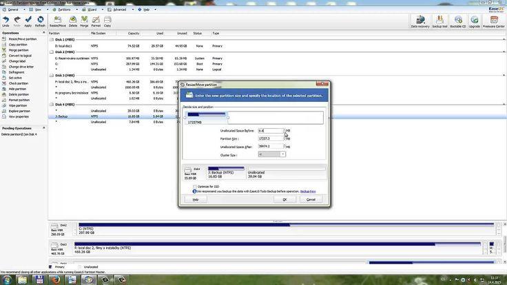 Tip jak sjednotit disk na jeden oddíl se zachovanými daty v programu Par...