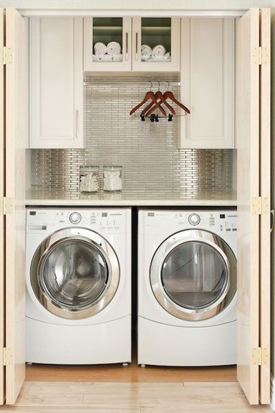 Closeted Laundry Room via Decor Pad