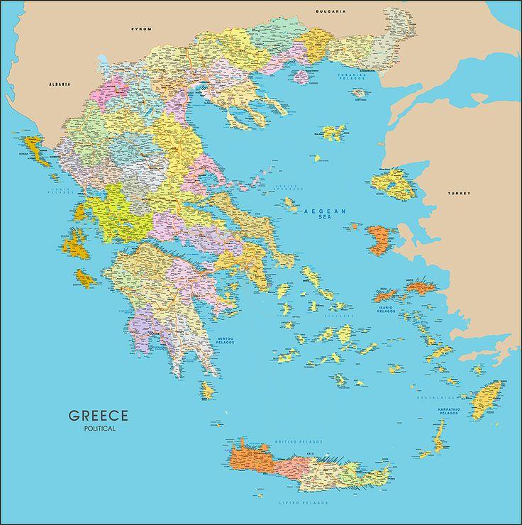 ΠΟΛΙΤΙΚΟΣ ΧΑΡΤΗΣ ΕΛΛΑΔΑΣ  Map of Greece detailed http://www.printcenter.com.gr/greece-map-02.html