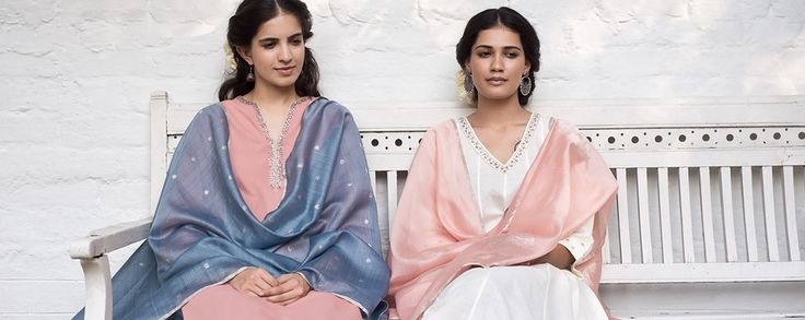 Mehreen - Everlasting cuts in beautiful pastel tones, subtly lifted with traditional craft accents in this versatile and sophisticated festive collection. Handwoven heritage fabrics coordinate with artisanal embroidery, reviving forgotten traditions with a stylish twist.