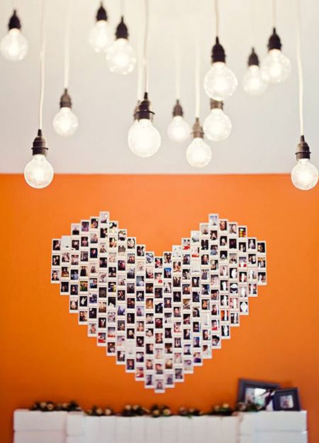 This is a perfect idea for a party (graduation, wedding reception, birthday, anniversary)- guests have Polaroids taken throughout the years, months, weeks, days leading up to the event, and they are assembled on the wall next to the memory table/guestbook area, so guests can revel in the shared memories.: Birthday, Heart, Event, Wedding, Polaroid Ideas, Nice Ideas Crafts, Photo, Diy, Craft Ideas