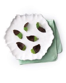 After Dinner Mint leaves -- Dip fresh mint in melted 1/2 cup dark chocolate, Place on a parchment-covered baking sheet, and freeze, uncovered, until hardened, about 20 minutes (or up to 5 hours). Gently remove from parchment, and serve immediately.