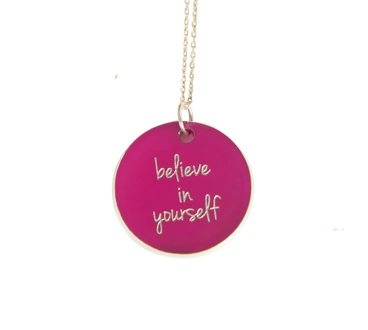 ''Believe in yourself  '' Silver chain and plexiglass necklace