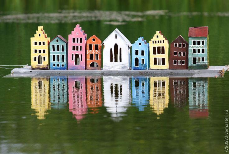 Город на воде - дом, домики, сад, пруд, озеро, отражение, венеция, брюгге, германия, ручная работа, handmade