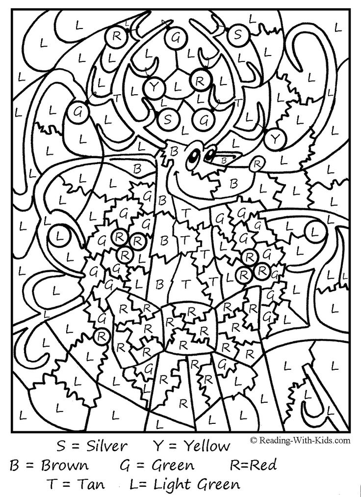 Christmas Color By Letter Reindeer Coloring Page
