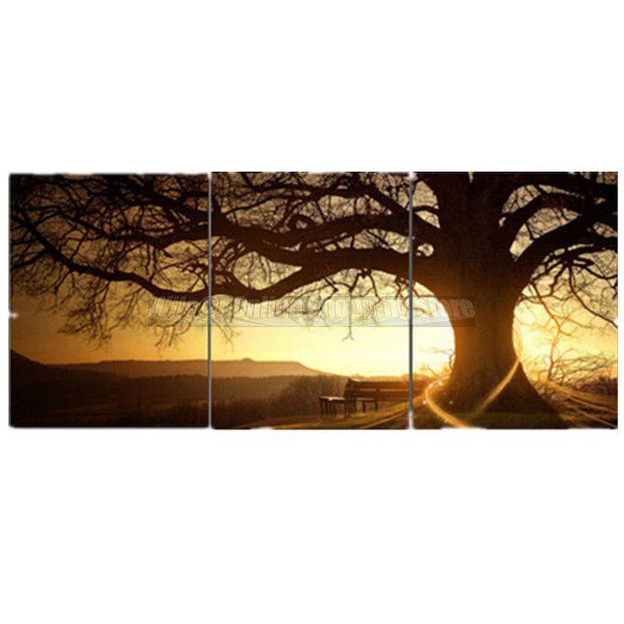3Pcs Sunset Tree Canvas Painting Print Seaside Sunset Wall Decor Art No Frame http://www.ebay.com/itm/-/182085820025?