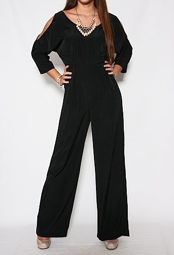 Black Jumpsuit with Cutout Sleeve