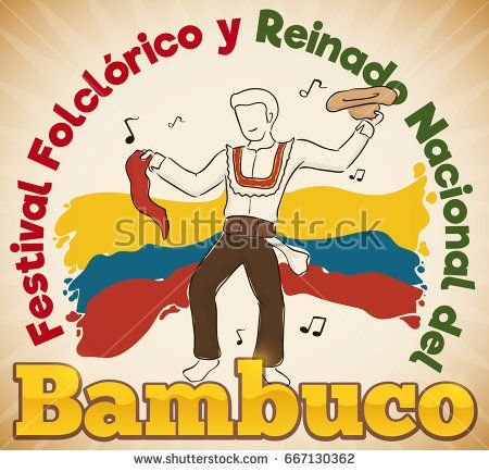 Poster with man and his hat and red kerchief celebrating Bambuco Pageant and Folkloric Festival (written in Spanish) in Colombia.