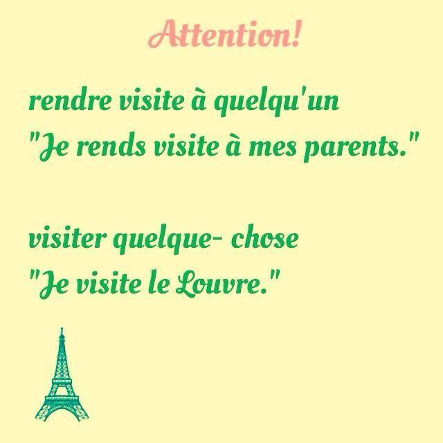 Visiter  / rendre visite