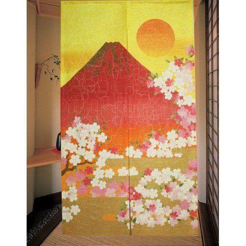 国産品 和風のれん 赤富士 ゴールド 約幅85×丈150cm
