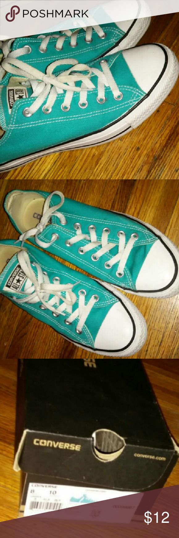 Turquoise converse... Low top Turquoise converse low top.  Original box.  Laces are a Lil dirty.  Been in my attic a while. Converse Shoes Sneakers