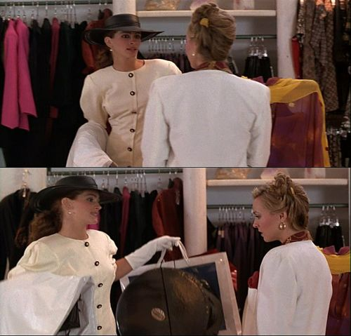 """Shop assistant: """"Hello, can I help you?""""  Vivian: """"I was in here yesterday, you wouldn't wait on me.""""  Shop assistant: """"Oh.""""  Vivian: """"You people work on commission, right?""""  Shop assistant: """"Yeah.""""  Vivian: """"Big mistake. Big. Huge. I have to go shopping now."""": Movies Quotes, Fav Movie, Favorite Scene, Pretty Woman, Favorite Movies, Big Mistake Huge, Shopping, Commission, Movie Quotes Favorite"""