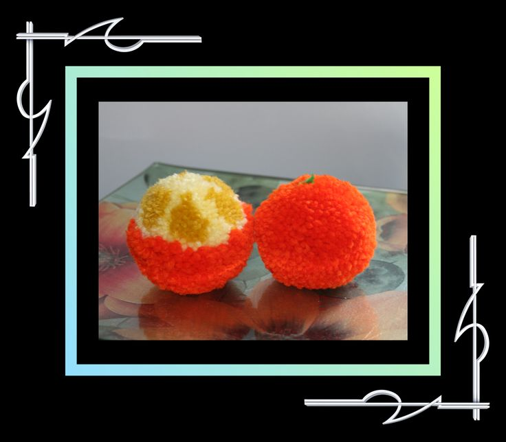 Check out this orange and half peeled orange, in Sculptured Yarn (pompoms). Available for purchase at thatissocool.ca