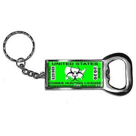 United States Hunting License Permit Green Biohazard Response Team Keychain Key Chain Ring Bottle Bottlecap Opener, Silver