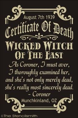 Certificate Of Death Wicked Witch