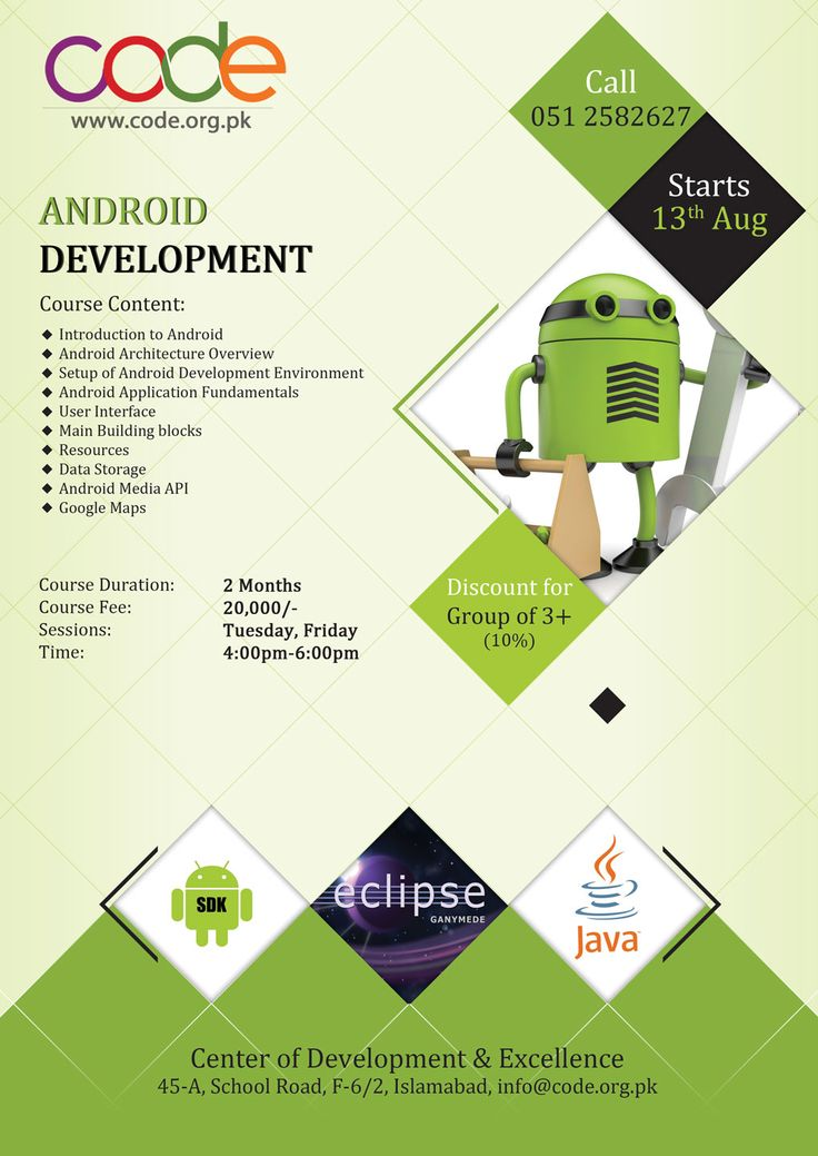 Android Development Session for August 2014 Starts 13th August Days: Tuesday & Friday Time:
