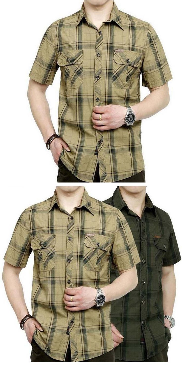 European casual style 2017 big size M- 5XL obesity men's summer 100% pure cotton plaid loose short sleeve shirts man khaki tops
