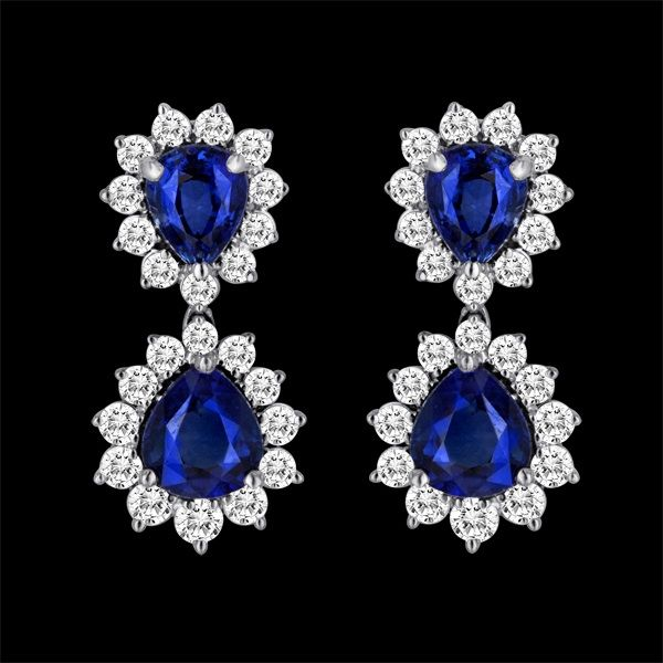 SAPPHIRE EARRINGS - This breathtaking pair of sapphire and diamond earrings consists of two 2 pear shaped sapphires on each surrounded by over 1 carat each in diamonds. Contact Henry K. Diamonds for details and visit http://www.henrykdiamonds.com/ to discover more stunning diamond jewelery #DiamondJewelry #Diamond #DiamondEarrings