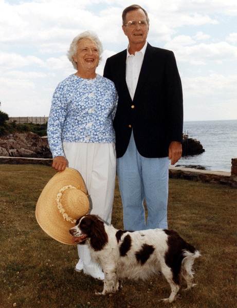President George H. W. and Barbara Bush, with dog, Millie; Walker's Point, Kennebunkport, Maine, 1991