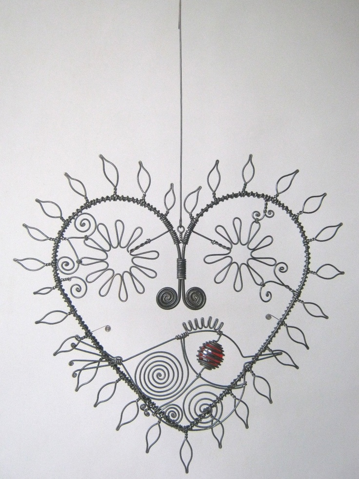 Wire Art Heart Sculpture With Leaves And Flowers And by MyWireArt