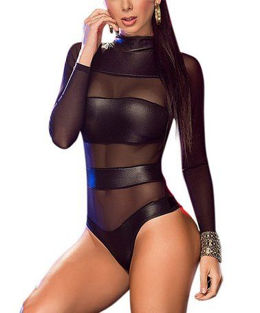 84b0366890d4 Mapalé | Black Mesh-Accent Mock Neck Bodysuit - Women in 2019 ...