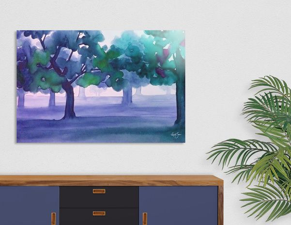 Discover «Blue trees», Limited Edition Acrylic Glass Print by Renate Sanner - From $99 - Curioos