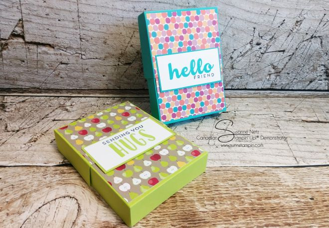 TGIF. It's Friday and it's box creation time. I have been on a kick recently trying to find ways of using all my patterned paper I got from the share I took part in. I made some note…