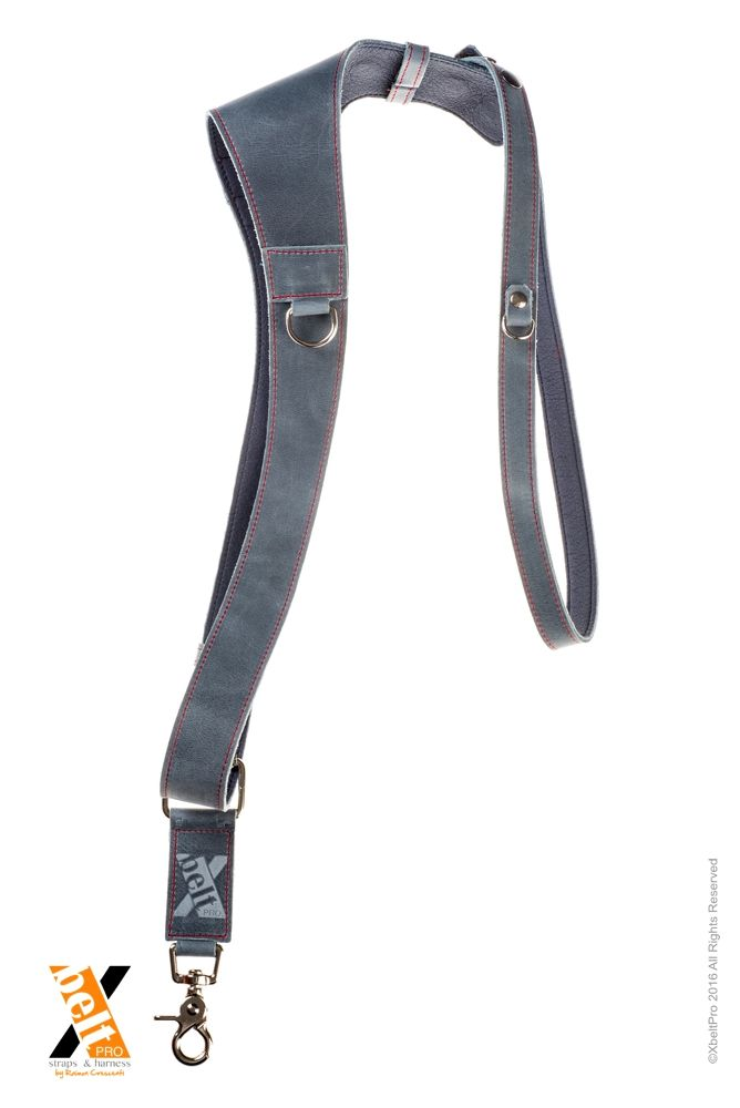 XbeltPro leather straps and harness, created for photographers that allows to carry 1, 2 or 3 cameras comfortabily and safe way.  Xwallet for smartphoe business or credit cards and 3 memory cards. Leather color Jean. Half harness right side.