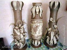Поделка изделие Моделирование конструирование Напольная ваза Картон гофрированный Шпагат фото 12