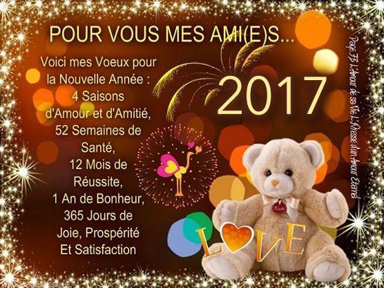 Pour vous mes ami(e)s... Voici mes voeux pour la nouvelle année: 4 saisons d'amour et d'amitié, 52 semaines de santé, 12 mois de réussite, 1 an de bonheur, 365 jours de joie, prospérité et satisfaction 2017 #bonneannee ours en peluche autruche lumieres feu artifice meilleurs voeux nouvel an