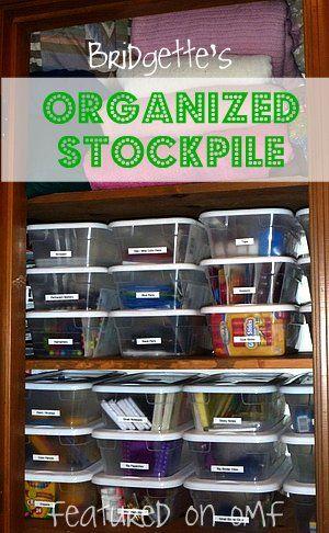 Bridgette's organized stockpile! Delightful! A featured organized reader on OMF.