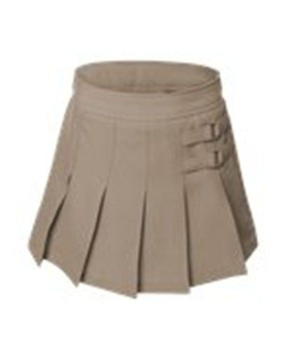 French Toast Little Girls' Two-tab Pleated Scooter Khaki 6