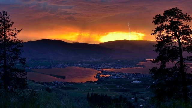 Incredible #thunderstorm at #sunset over #Osoyoos Lake. Photo by Leyton McKinnon