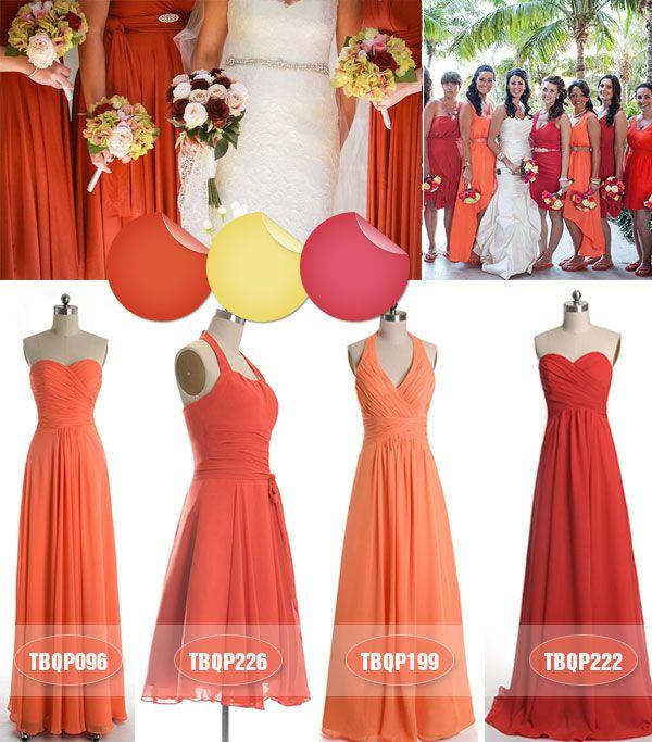 Fall Wedding Colors - Koi Orange Coral Bridesmaid Dresses 2013