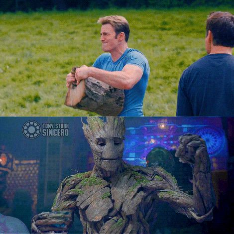"""Groot is offended. #captainamerica <<<<Tony isnt<<<<Tony's just like: """"Damn this boy is ripped"""""""