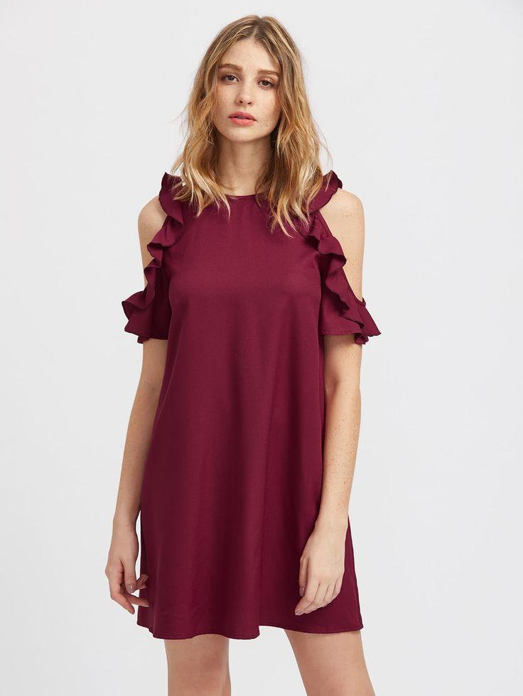 Shop Buttoned Keyhole Back Frilled Open Shoulder Dress ...