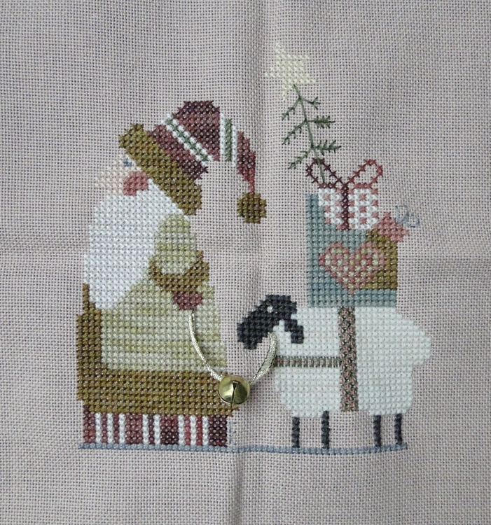 HOW CUTE! Mosey 'n Me just cross stitch 2012 ornament issue...changed a couple of things, added a jingle bell :)