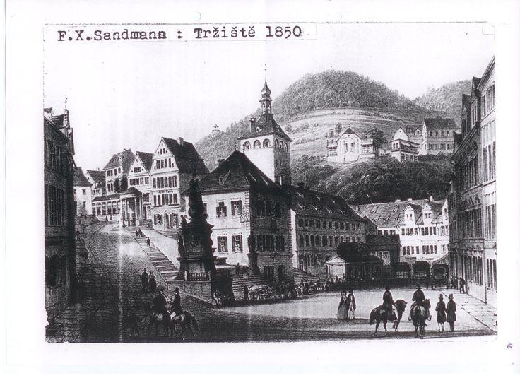 Karlovy Vary v roce 1850 Carlsbad in 1850