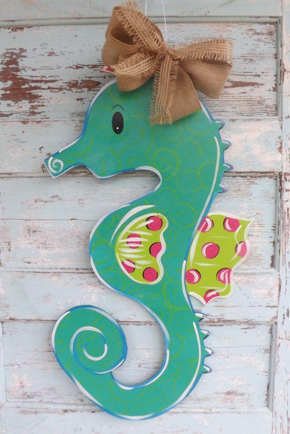 SeaHorse Door Hanger Spring Door Hanger by BluePickleDesigns, $48.00