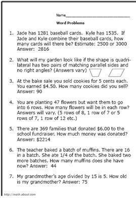 4th Grade Math WordProblems