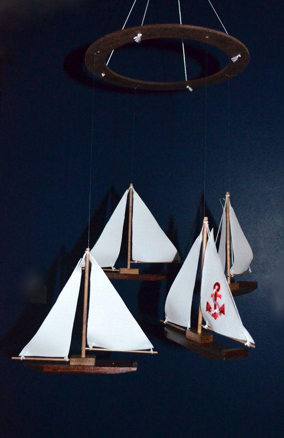 Sophisticated Modern Nautical Nursery: Nautical Nursery Mobile Sailboat Anchor Custom Wood Fabric