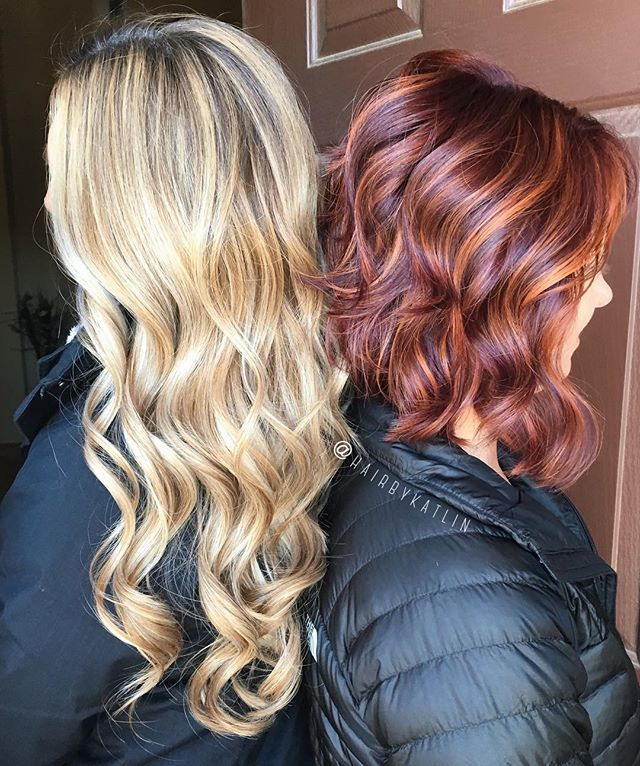 My cousins came into town to get their hurr done  rooty balayage blonde and vibrant red/brown with copper gold balayage highlights ✨