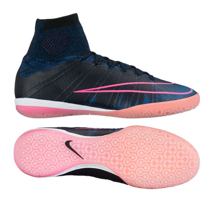 A flash of Pink is all they will see streaking down the side of the court. The Pink and Racer Blue combination is the newest concoction from Nike's design lab. Designed on the Mercurial Superfly originally, the FlyWire technology and the DynamicFit collar keep you locked down in the shoe on the court. Accelerate past everyone in the hunt for the MercurialX Proximo IC today but ordering yours at www.soccercorner.com.