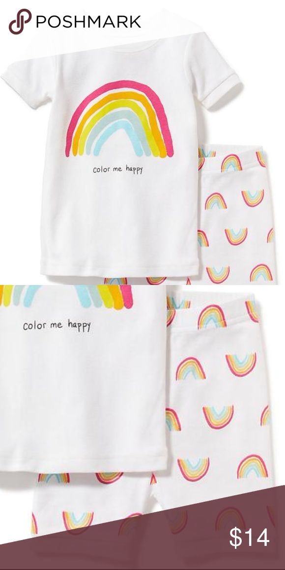 """Old Navy NWT Rainbow summer pajamas New With Tags ~ retail from mall store 100% cotton, machine wash, tumble dry on low   This listing is for a pair of short john pajamas from Old Navy. (They have short sleeves and short bottoms.) The top a rainbow and the words """"Color me happy"""". The bottoms are done in an all over rainbow print and have an elastic waistband. Old Navy Pajamas Pajama Sets"""