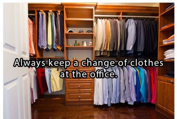 Always keep a change of clothes at the office | www.piclectica.com #piclectica