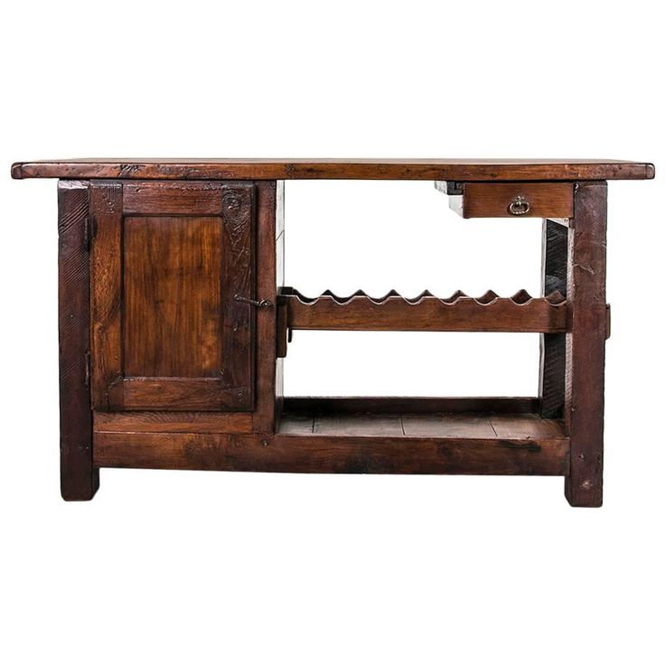 Rustic Antique French Carpenter's Work Bench or Console with Wine Rack | From a unique collection of antique and modern console tables at https://www.1stdibs.com/furniture/tables/console-tables/