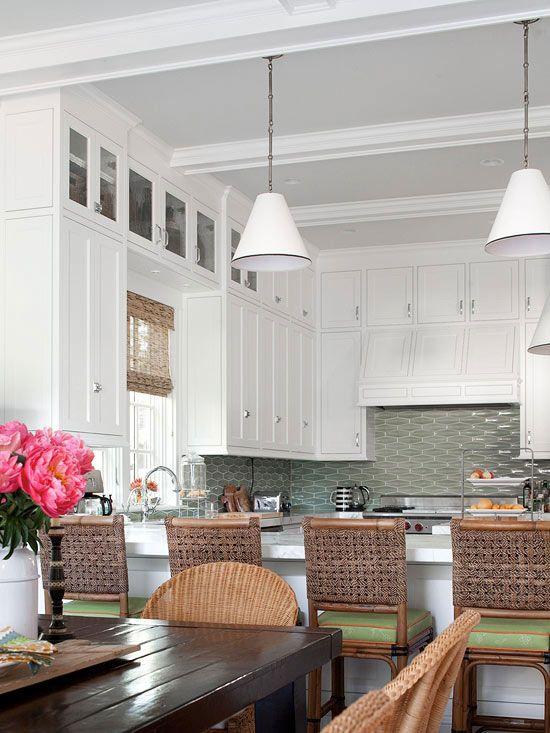 Bring the Outside In: Cottages Kitchens, Beautiful Kitchens, Upper Cabinets, Tile Backsplash, Bar Stools, Backsplash Kitchens, White Cabinets, Modern Kitchens Design, White Kitchens