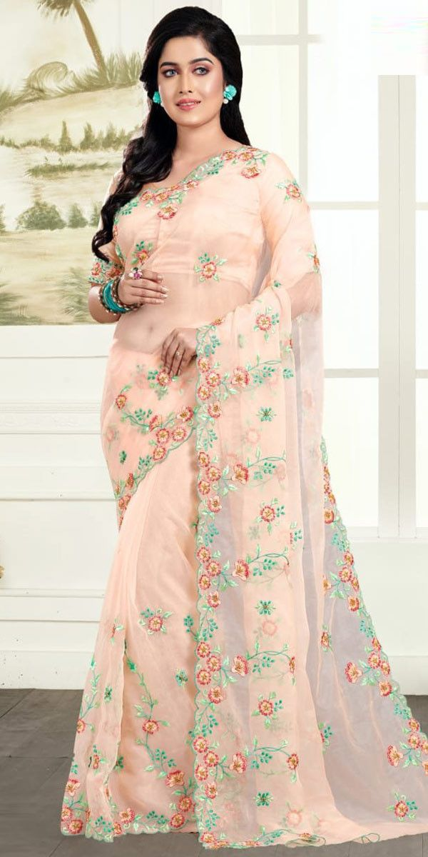 Cheerful Light Peach Organza Net Embroidery Saree Buy Saree